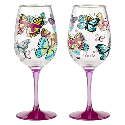 Wine Design Hand Painted Goblet - Enesco 6001639 Designs by Lolita Butterfly Acrylic Wine Glasses, Set of 2, 16 oz.