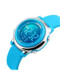 Bo Yi Multi Function Digital LED Quartz Watch Water Resistant Electronic Sport Watches Child Blue