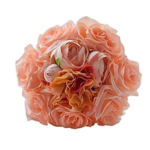 Wedding Bouquet Roses Bridesmaid Bouquet Bridal Bouquet Simulation Flowers for Wedding Party (Orange) 38