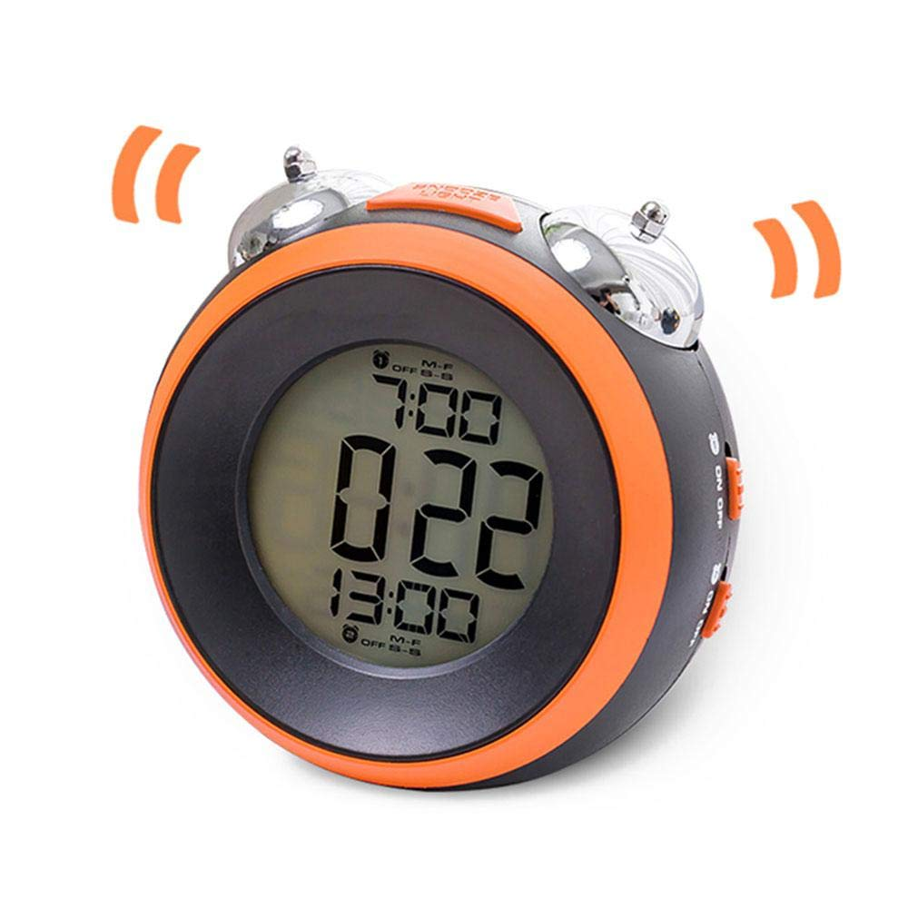Loud Alarm Clock for Heavy Sleepers - Teepao Battery Operated LED Dual Alarm Clock with Optional Weekday Alarm, 12/24 Hours, Snooze, Backlight Twin Bell Alarm Clocks Easy to Wake Up Kids