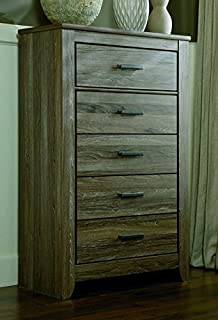 Ashley Furniture Signature Design   Zelen Chest Of Drawers   5 Drawer  Dresser   Warm Gray