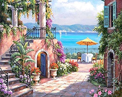 ABEUTY DIY Paint by Numbers for Adults Beginner - Seaside Garden & Flower House 16x20 inches Number Painting Anti Stress Toys (No Frame)