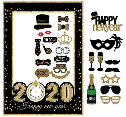 Happy New Year Eve (7-gost 2020 Happy New Year's Eve Party Photo Booth Props Supplies with Photo Frame(Pack of)
