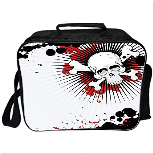 Halloween Lunch Box Portable Bag,Skull with Crossed Bones over Grunge Background Evil Scary Horror Graphic for Kids Boys Girls,10.6
