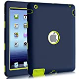BENTOBEN Shockproof Case for iPad 2 / iPad 3 / iPad 4, Heavy Duty Rugged Shock-Absorption High Impact Resistant Hybrid Full Body Protective Case for iPad 2nd /3rd /4th Generation Retina, Navy Blue
