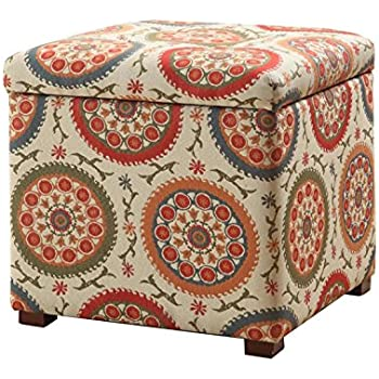 Kinfine Square Upholstered Storage Ottoman with Removable Top, Orange Suzani