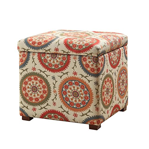 HomePop Square Upholstered Storage Ottoman with Removable Top, Suzani ()