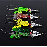 genric Practical Lot4 CrankBait Rubber Frog Soft Fishing Lures Bass Tackle 9cm/3.54""