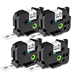 4-Pack 24mm 1 Inch Laminated Black on White Compatible TZ TZe Tape Compatible with Brother P Touch PTD600 PTP700 PTP900W PTP950NW Label Tape TZe 251