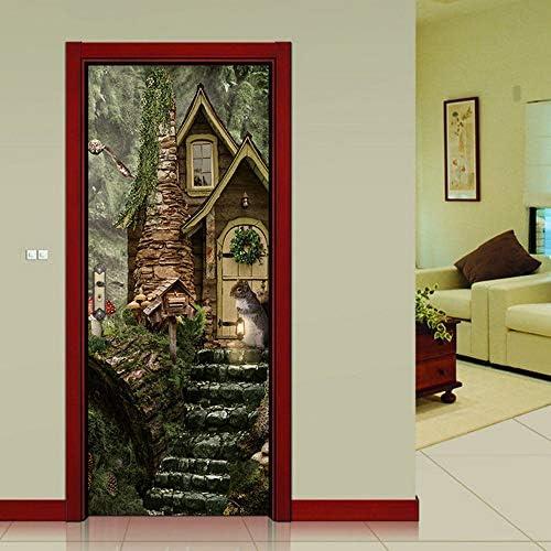 kwpkh Stickers De Porte De Chalet 3D Porte Sticker Mural Chambre Salon Décoration Papel Tapiz 95 * 215 CM: Amazon.es: Hogar