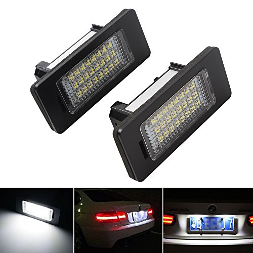 - 2-Pack Car LED Licence Plate Light [24LED 12V 6000K] for E39 E46 E60 E70 E81 E90 X1 X5 X6 White LED Licence Plate Light Direct Replacement