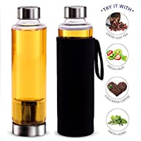 Teabloom Hot & Cold Brew Maker & Travel Bottle - 20 Oz. Tea Bottle with Infuser, Stainless Steel Filter Basket & Insulating Sleeve