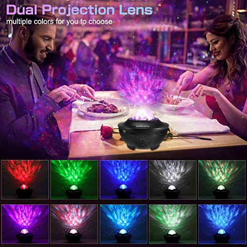 Smart WiFi Star Projector, Delicacy Galaxy Projector Ocean Wave Starry Sky Night Light Projector with Music Bluetooth Speaker,Rotating LED Night Light for Home Theatre Kids Adults Room Decoration