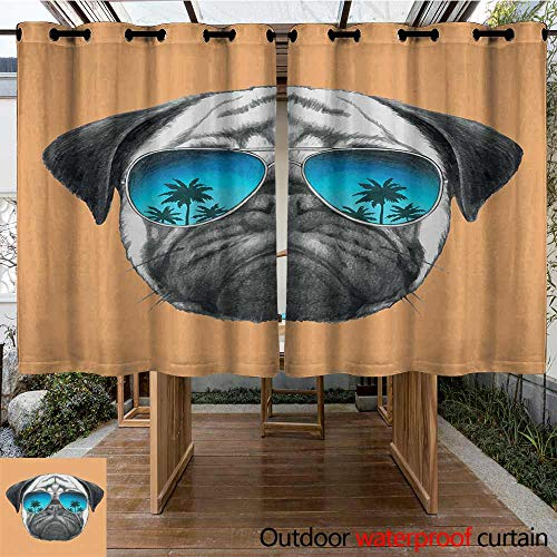 Outdoor Window Curtains Pug Dog with Reflecting ()