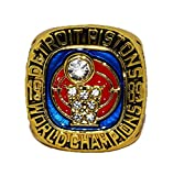 DETROIT PISTONS (Joe Dumars) 1989 NBA FINAL WORLD CHAMPIONS (Bad Boys) Vintage Rare & Collectible Replica National Basketball Association Gold NBA Championship Ring with Cherrywood Display Box
