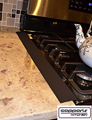 Capparis Kitchen Silicone Stove Counter Gap Cover, set of 2, Black