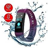 Purple Fitness Tracker Heart Rate Monitor Watch Blood Presure Pedometer Calorie Counter