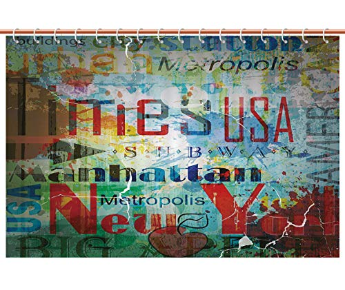iPrint Eco-Friendly Shower Curtain [ New York,Grunge Collage of Words American Culture Country Metropolis Modern Urban Decor Decorative,Multicolor ] Bathroom Accessories Shower Curtain ()