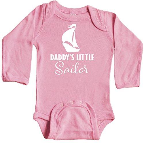 inktastic Daddys Little Sailor Sailboat Long Sleeve Creeper Newborn Light Pink