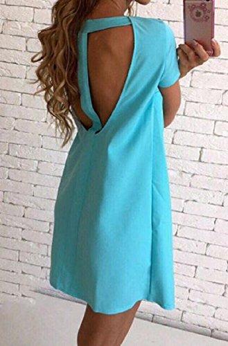 Coolred Summer Women T Dress Bodycon Shirt Light Blue Sheer Backless Elegant rw1rRIq
