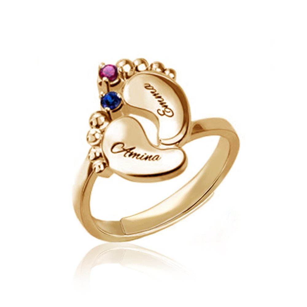 KIKISHOPQ 925 Silver Custom Baby Foot Ring Ring Engraving Name and Inlaid Two Lucky Stone Rings(gold adjustable) by KIKISHOPQ (Image #1)