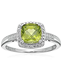 Sterling Silver Cushion Peridot and Diamond Accented Halo Engagement Ring, Size 7