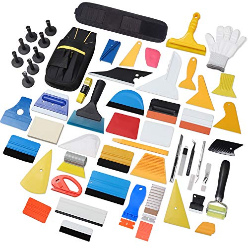 Ehids Professional Window Film Vinyl Wrap Kit Including All Tools Full Complete Squeegees, Scrapers, Cutters, Holders, Tool Pouch