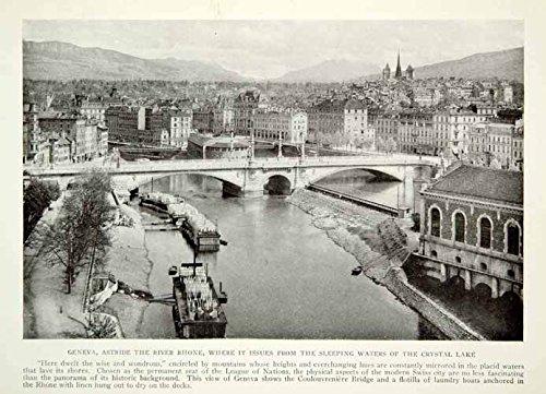 1919 Print Geneva Switzerland Crystal Lake Cityscape River Rhone Historical NGM5 - Original Halftone Print - Historical Crystal