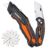 REXBETI 2-Pack Utility Knife, Heavy Duty Retractable Box Cutter for Cartons, Cardboard and Boxes, Blade Storage Design, Extra 10 Blades Included