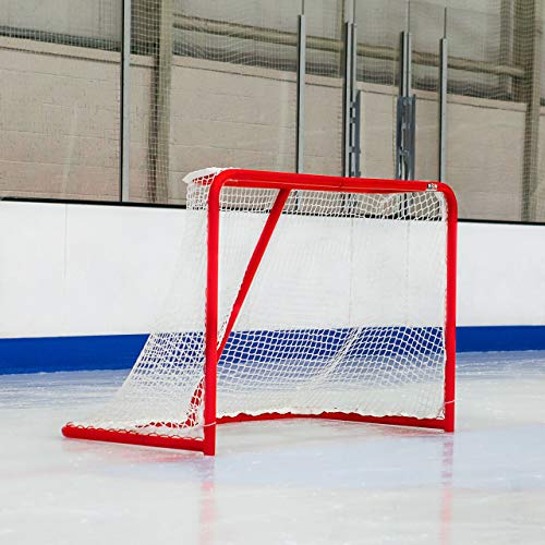 - Professional Ice Hockey Goal - Full Size 72 inch Ice Hockey Goal with 5mm Net and 2 inch Galvanized Steel Frame [Net World Sports]
