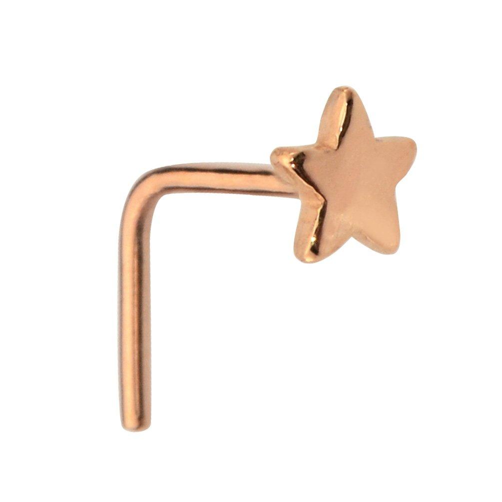 Nose Ring - Nose Stud - Nose Piercing - 14K Solid Rose Gold 20 Gauge Star