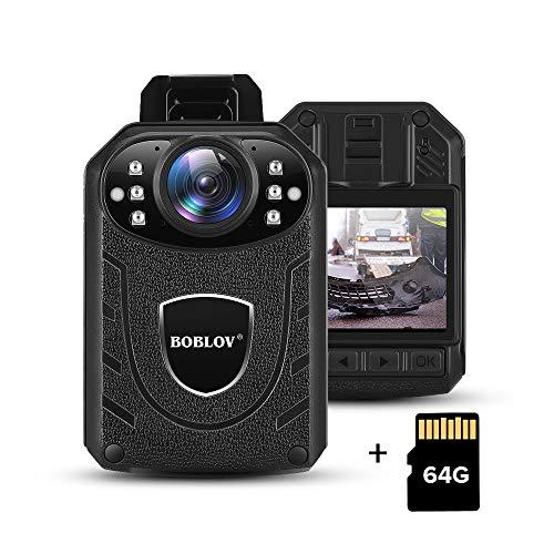 BOBLOV KJ21 Body Camera 1296P Body Wearable Camera Support Memory Expand Max 128G 8-10Hours Recording Police Body Camera…