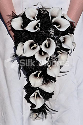 Bouquet Sposa Nero.Unico Giglio Artificiale Picasso Nero E Rosa Bouquet Da