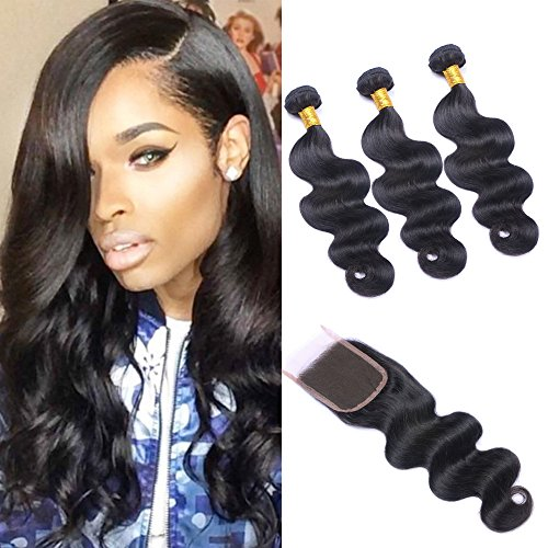 Brazilian Body Wave 3 Bundles with Closure,7A Brazilian Human Hair Bundles with Closure Unprocessed Brazilian Virgin Hair Bundles with Full Lace Closure Free Part Natural Color (10 12 14with10)