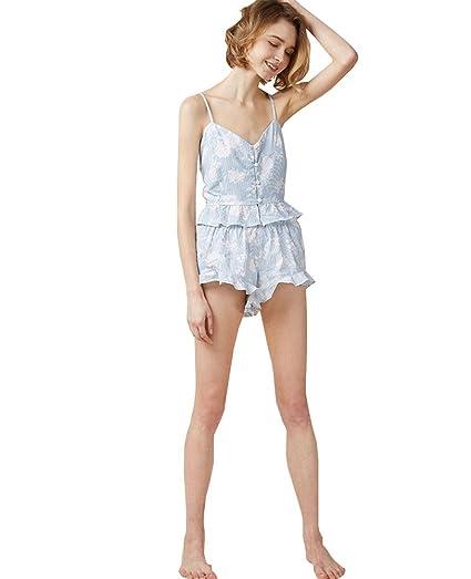 Fankeshi Women s Prints Summer PJ Set Floral Print Pajamas Set Nightshirt  Sateen (A 97fec6b31
