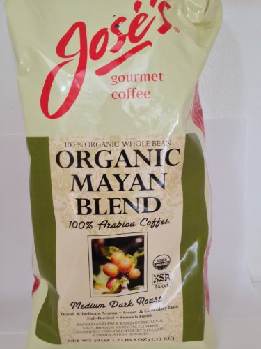 Jose's Whole Bean Coffee, 2lb 8 oz/40 oz 100% Certified USDA Organic Mayan Blend 100% Arabica - Jose Blue