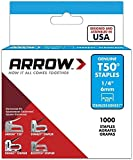 "Arrow A504SS1 Staples, T50, Stainless Steel, 1/4"", 6 mm (Pack of 1000)"