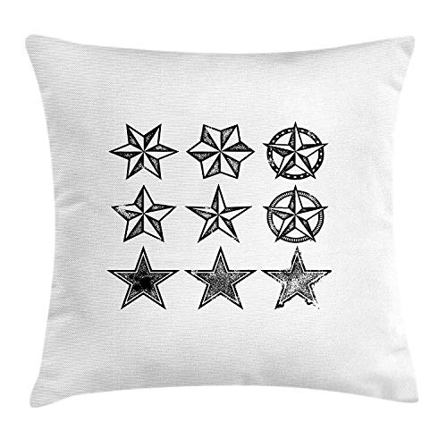 Riolaops Texas Throw Pillow Cushion Cover, Grunge Looking Distressed Stars Collection Monochrome Design Old Fashioned Western, Decorative Square Accent Pillow Case, 18 X 18 inches, Black White