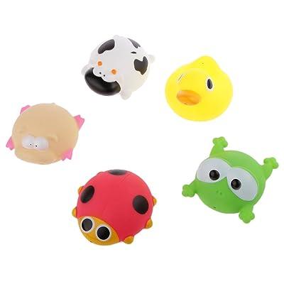 5pcs Juguetes Juegos Baño Agua Vinilo Goma Diseño Muñecos Muchachos Bebé Niños: Juguetes y juegos