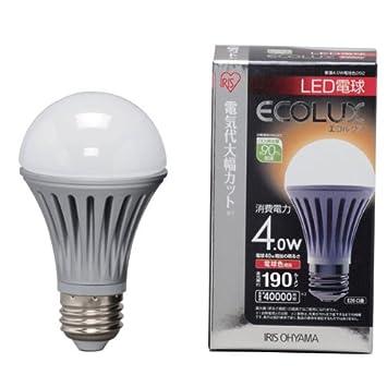 【クリックでお店のこの商品のページへ】アイリスオーヤマ LED電球(全光束:190 lm/電球色相当)ECOLUX LED-A4L262