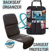 Zohzo Car Seat Protector & Back Seat Organizer/Kick Mat Bundle (Black)