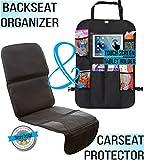 Zohzo Car Seat Protector & Back Seat Organizer/Kick Mat Bundle - Child & Infant Baby Seat Protectors