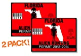 Florida-ALIEN HUNTING PERMIT LICENSE TAG DECAL TRUCK POLARIS RZR JEEP WRANGLER STICKER 2-PACK!-FL