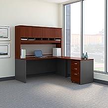 "Bush BBF Series C 72"" L-Shaped Desk with Hutch in Hansen Cherry"