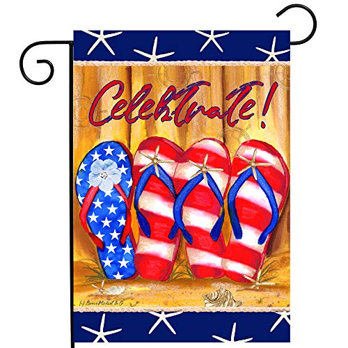 Patriotic American Flip Flops 12x18 Double Sided Garden Flag for Outdoor Use Summer Yards Beach Pool