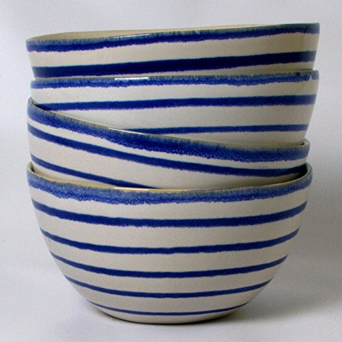 Handmade 6-inch/16 oz Ceramic Stoneware Soup or Cereal Bowls, Blue Lines Design (Set of 4)