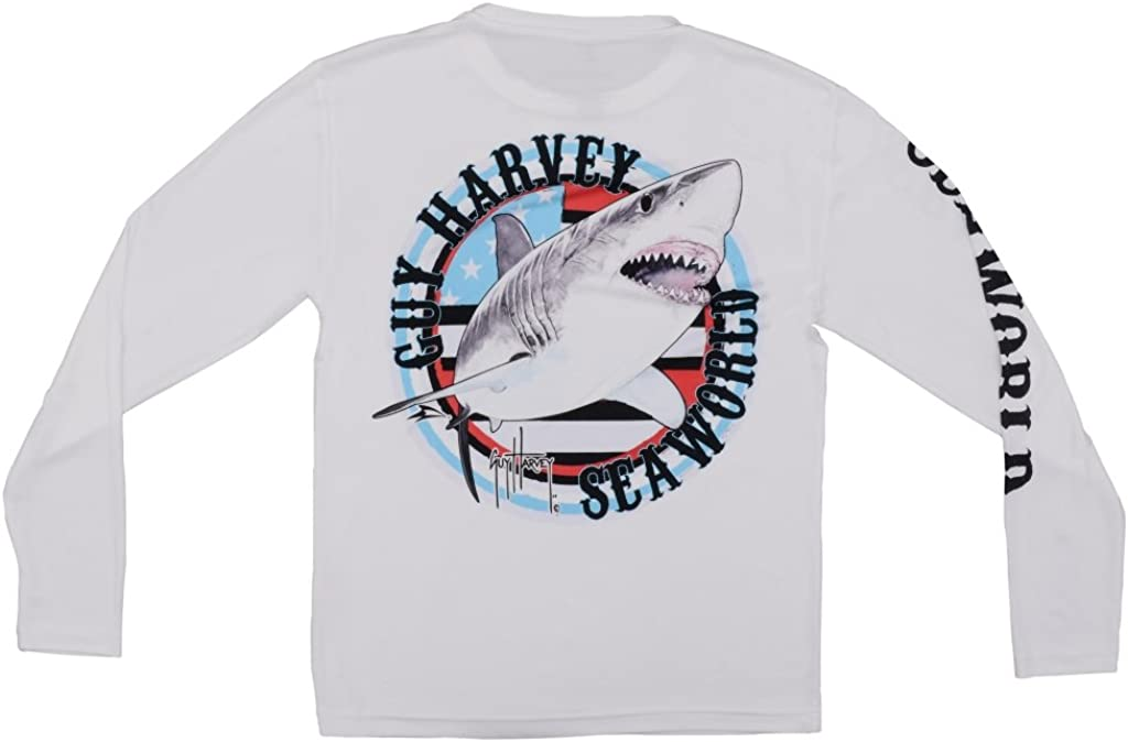 SeaWorld and Guy Harvey Exclusive USA Shark White Long Sleeve Performance Adult Tee