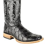 Men Genuine Cowhide Leather Fish Print Square Toe Western Boots_Black_9.5