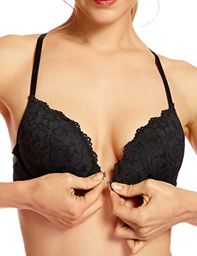 (DOBREVA Women's Floral Lace Back Front Closure Padded Push up Underwire Bra Plunge Black 36DD)
