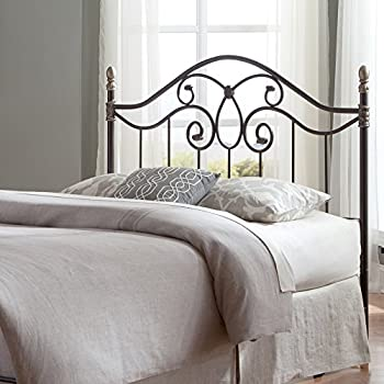 Fashion Bed Group Dynasty Headboard with Arched Metal Grill and Scalloped Finial Posts, Autumn Brown Finish, Queen